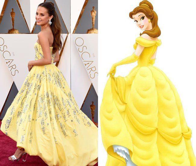 Favori Alicia Vikander dans robe de princesse comme Belle aux Oscars | Femmes MR87