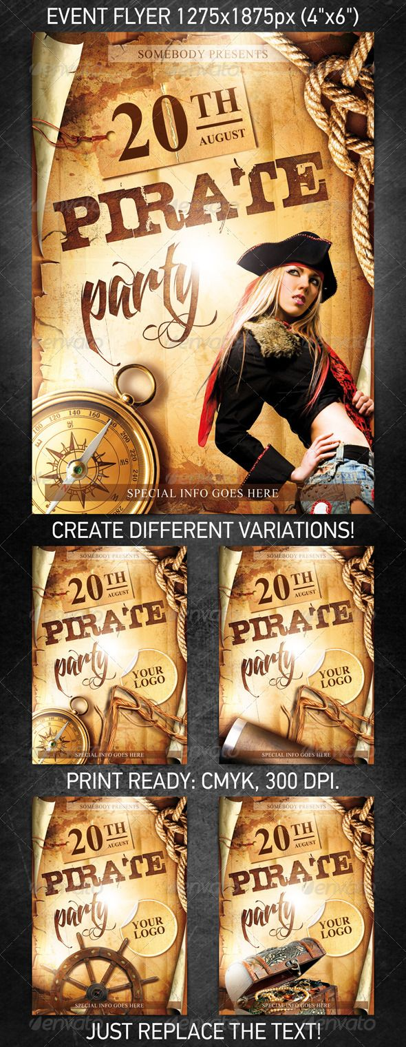 Pirate Party Event Flyer Graphicriver Template For Entertainment Or Any Other Night Club