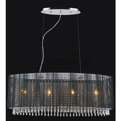 Crystal World Inc Oval Black Sheer 6 Light Chandelier 5004p35c B Home Depot Canada