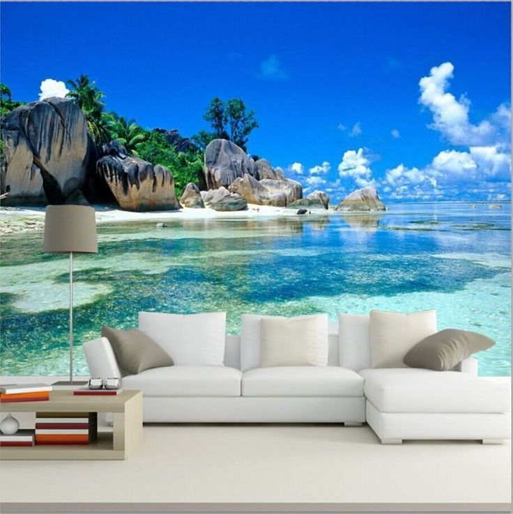 Wallpaper 3d mural beach stone sea view island wall paper for Beach mural wallpaper