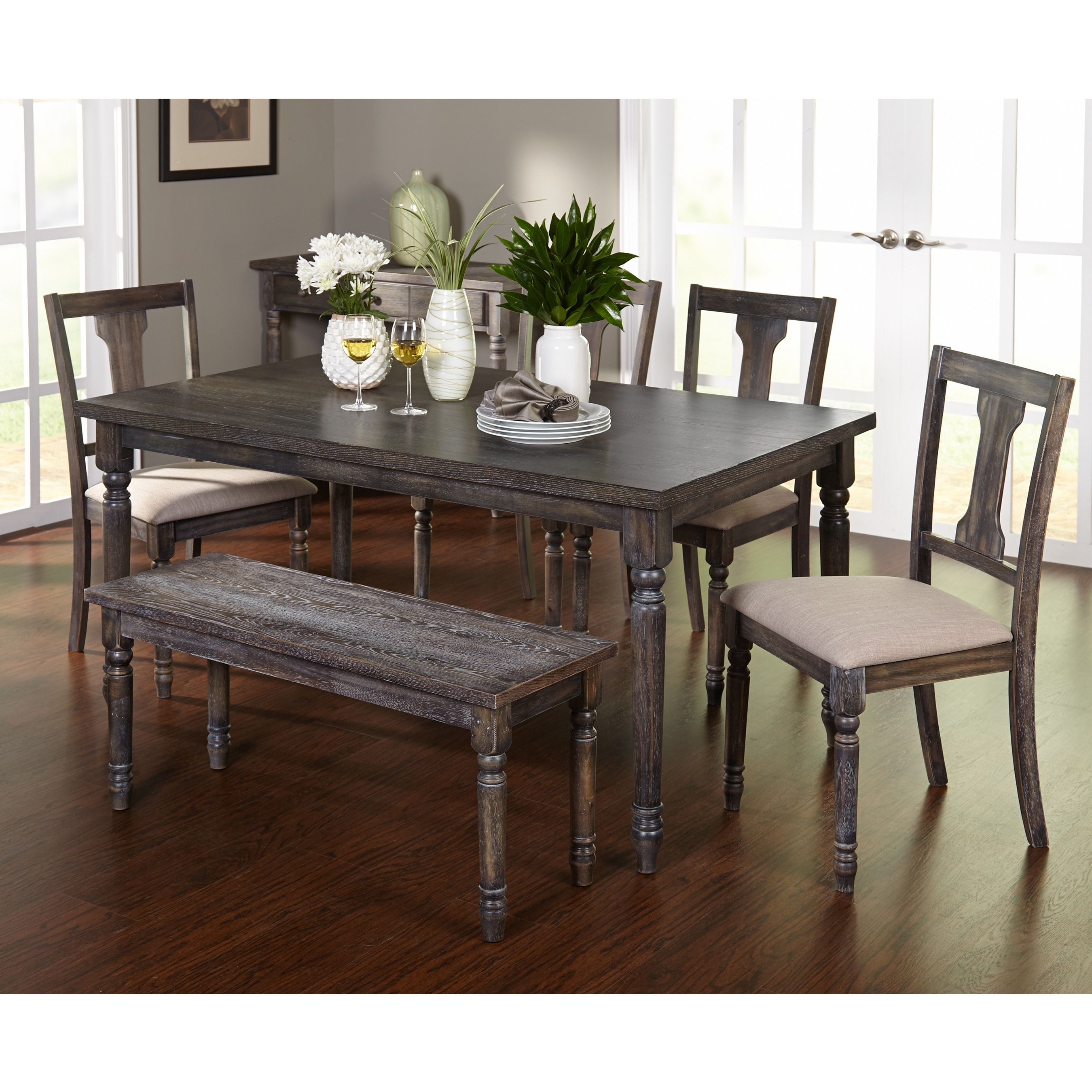 Simple Living 6pc Burntwood Dining Set With Bench 6 Piece Dining