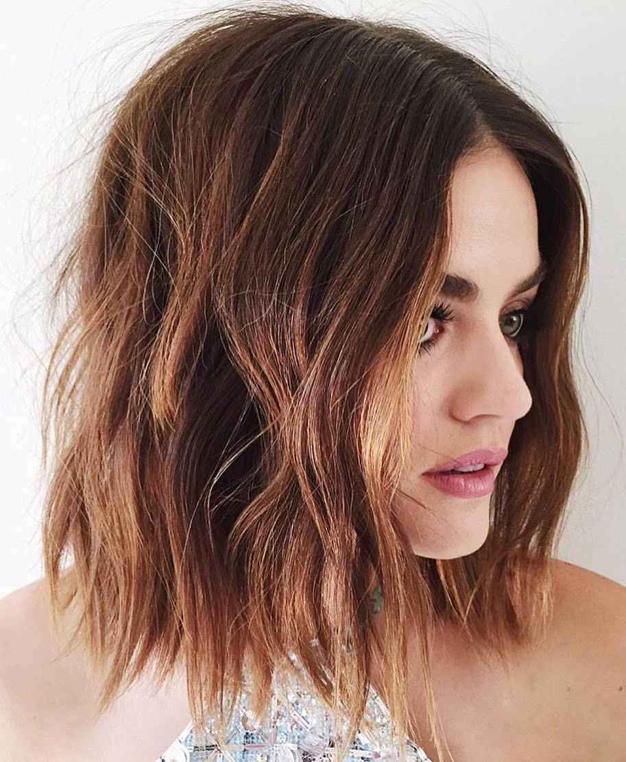 Lucy Hale Hair By Kristen Ess Short Bob Haircut And Caramel Brown