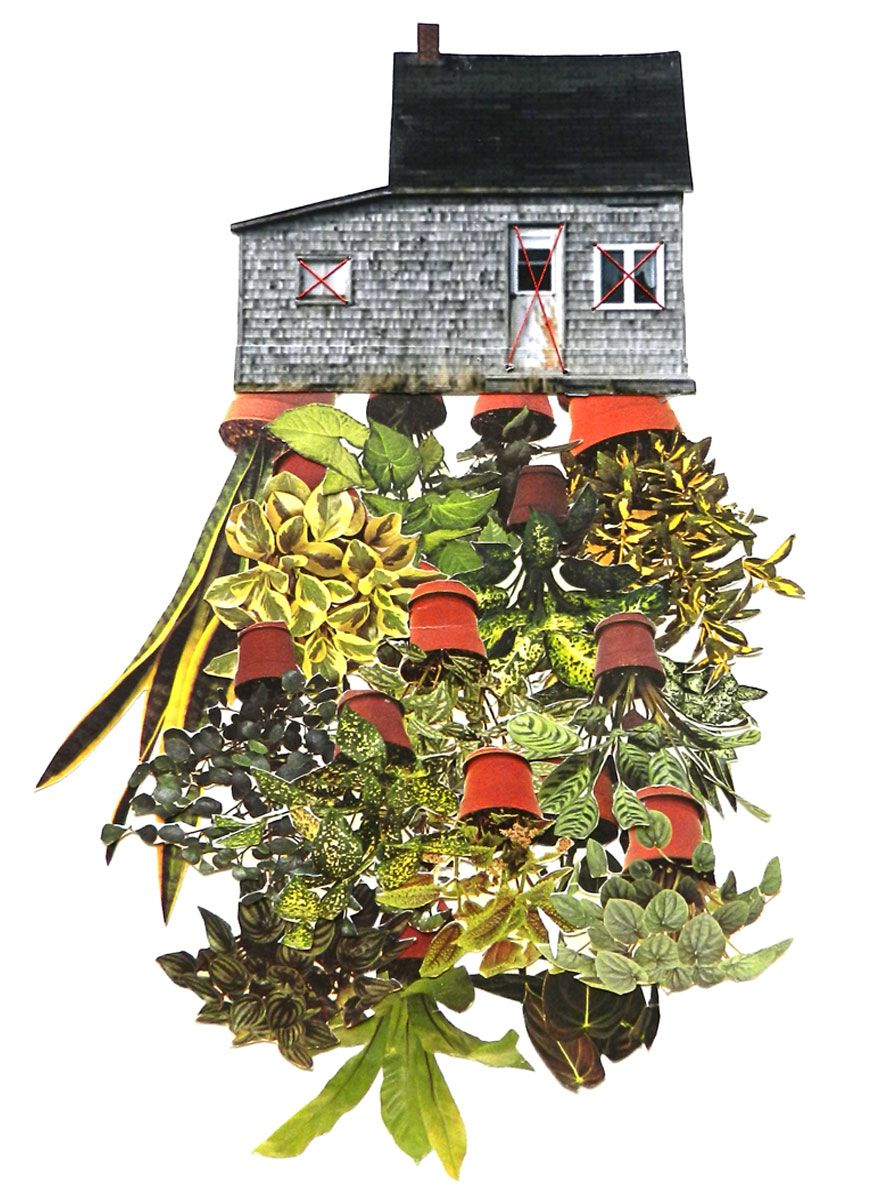 Room plant, hand threaded collage by Happy Red Fish