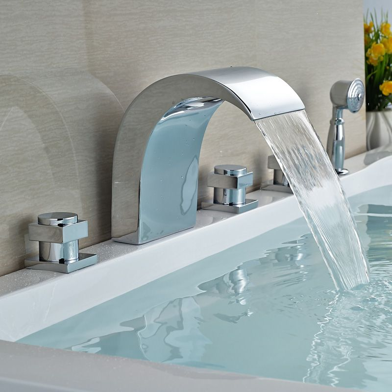 Chrome Finish Big Waterfall Spout Bathtub Faucet Deck Mount 5pcs ...
