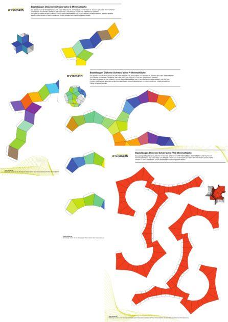 Set Of Paper Craft Patterns Discrete Minimal Surfaces Papel