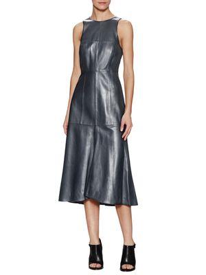 Leather Fluted Sleeveless Dress
