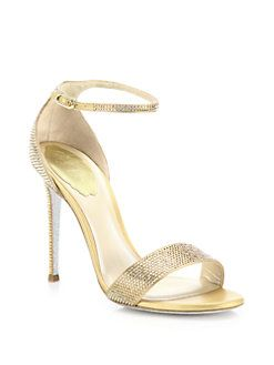 d8dfe4f86377 Rene Caovilla - Crystal-Embellished Metallic Leather Sandals