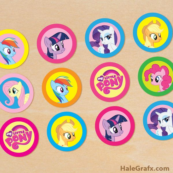Click Here To Download FREE Printable My Little Pony Cupcake Toppers