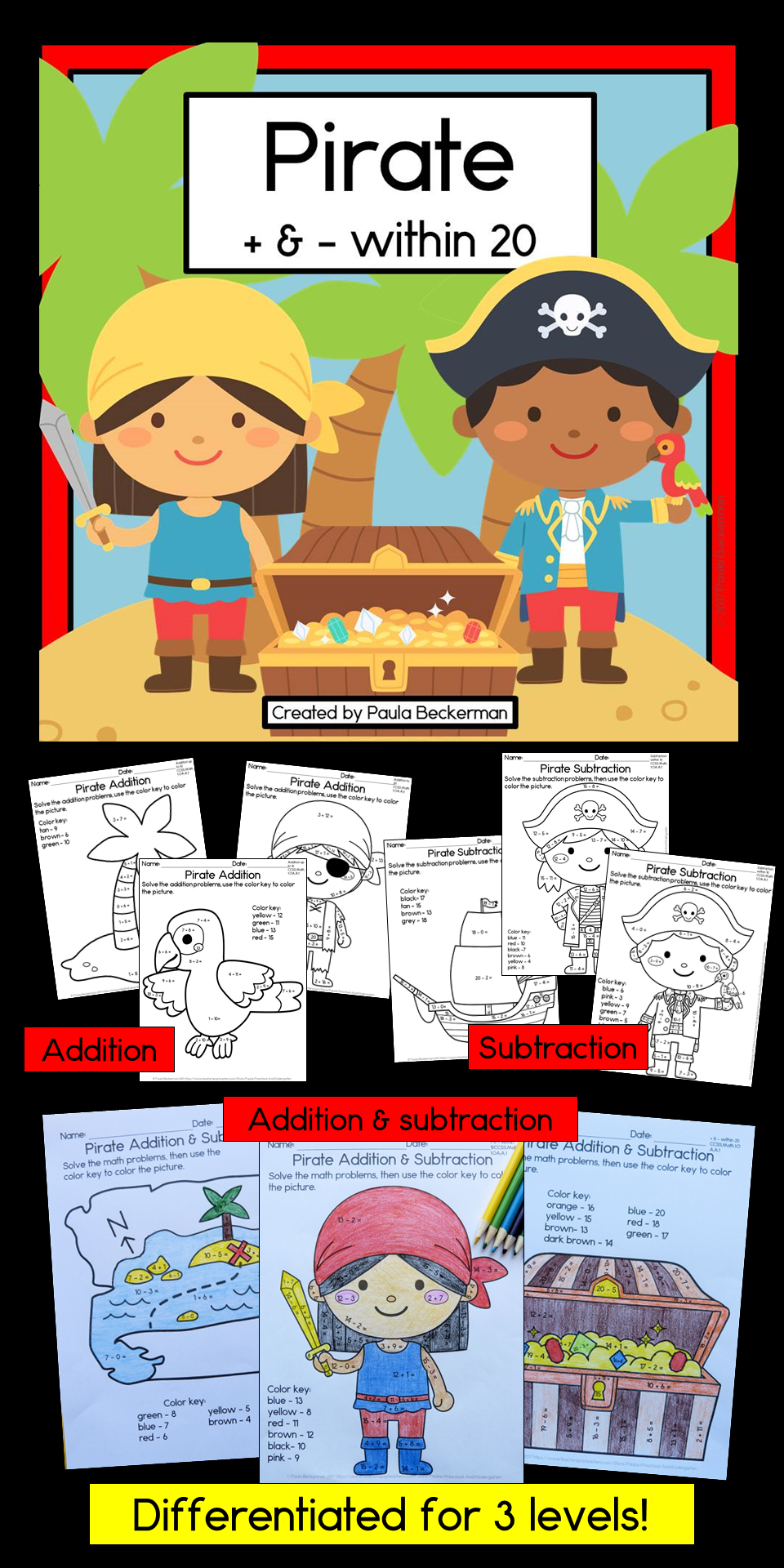 Addition And Subtraction Within 20 Worksheets Pirate Theme For Kindergarten And First Grade Addition And Subtraction Subtraction Pirate Theme [ 1920 x 960 Pixel ]