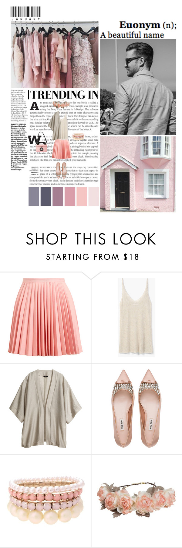 """Set #4964"" by miky94 ❤ liked on Polyvore featuring J.W. Anderson, MANGO, H&M, Miu Miu, Lipsy and Cult Gaia"