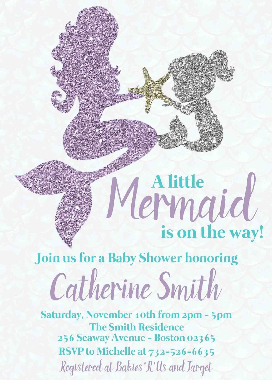 Mermaid Baby Shower Invitation Mother Baby Personalized Teal Lavender