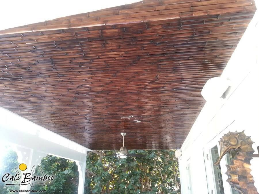Patio Cover Made Out Of Stained Bamboo Fencing