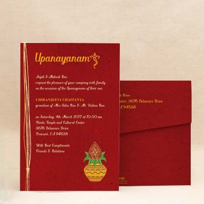 Sacred Threads Dark Red Thread Ceremony Invitation Cards