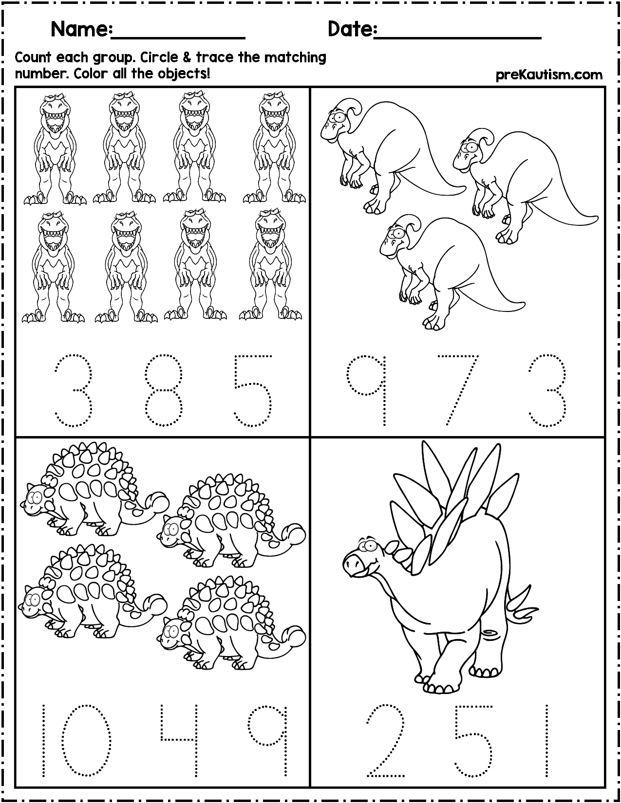 Dinosaur Count Amp Number Write