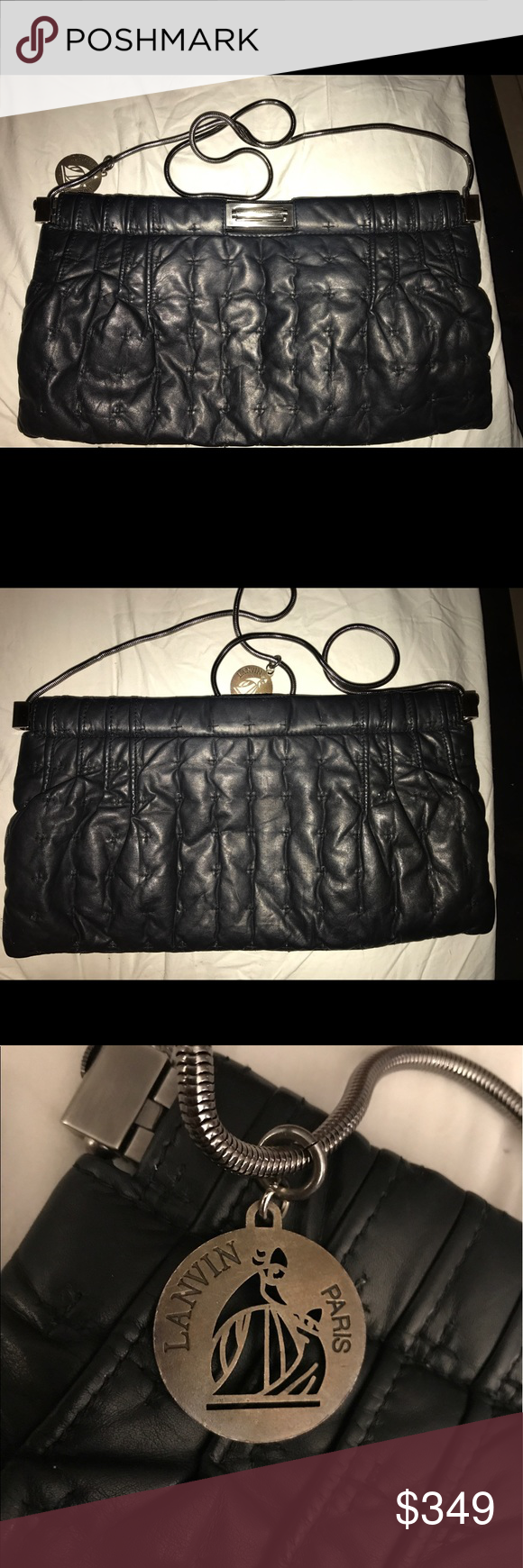"Gorgeous black leather Lanvin clutch crossbody Huge and really unique with cross stitch and quilting details in buttery soft leather . The strap is detachable. Measures 15 x 7 1/2"" Lanvin Bags Clutches & Wristlets"