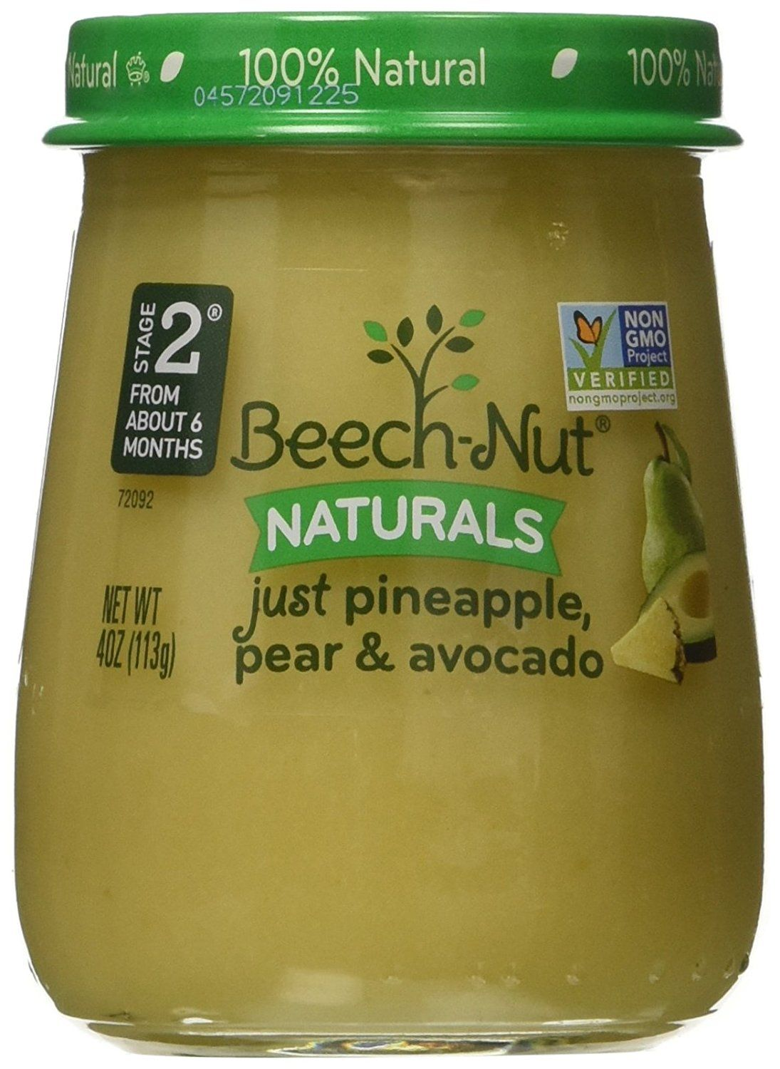 BeechNut Stage 2 Baby Food, Just Pineapple/Pear/Avocado