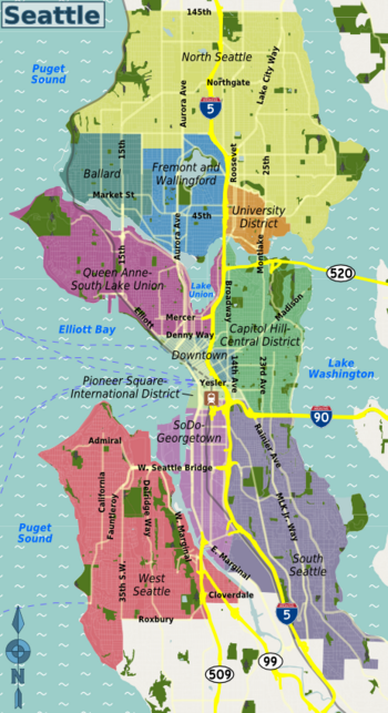Downtown Seattle and surrounding neighborhoods Traffic report http