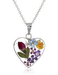 Sterling Silver Pressed Flower Heart Pendant Necklace, 16""