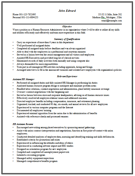 Content Rich Resume Sample for HR Manager with good work experience ...