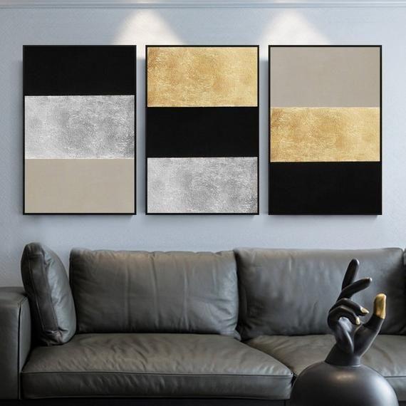Satz von 3 Wandkunst Gold Kunst und Silber Kunst abstrakte | Etsy