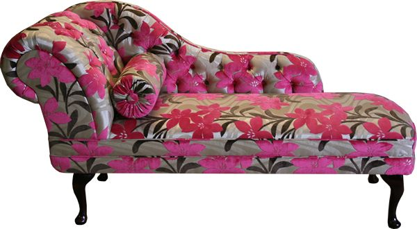 floral antique chaise lounge chair from velvet and silk patterned
