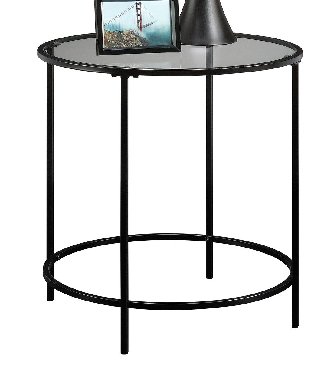 Sauder Soft Modern Round End Side Table Black Clear Glass See This Great Product It Is Amazon Af Round Coffee Table Living Room Black Side Table Side Table [ 1208 x 1104 Pixel ]