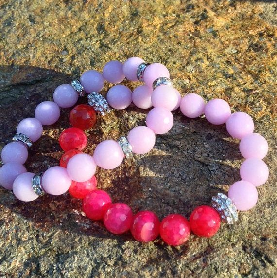 Rasberry and Cotton Candy Pink stretch by VellaAndRoJewelry, $30.00