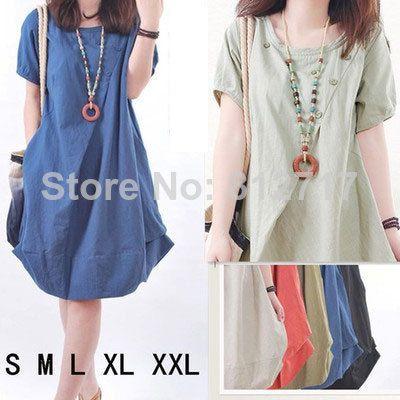 New 2014 plus size women dress loose casual pleated fluid short-sleeve vestido casual fashion summer dress S M L XL XXL