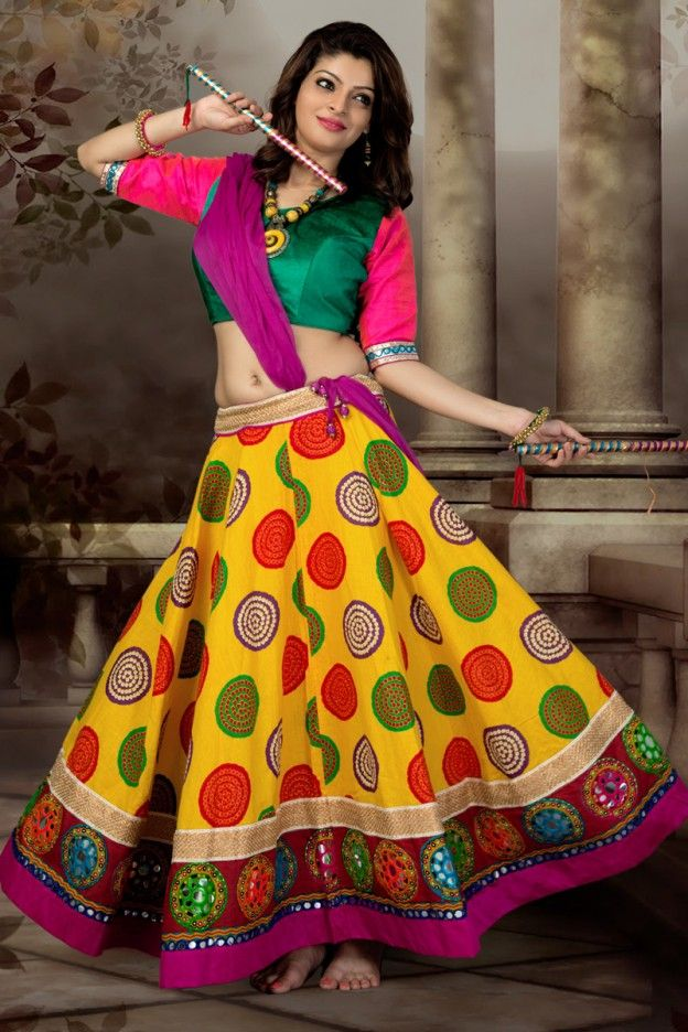 2f0cab60b Pink and Yellow Color Cotton Traditional Ghagra Choli  Cotton  ChaniyaCholi
