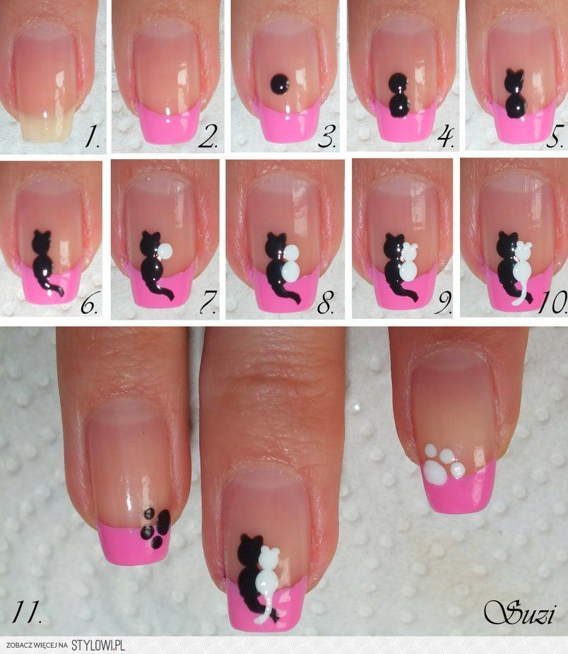 nail designs do it yourself | DIY Cats in Love Nail Design Do It ...