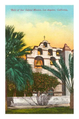 San Gabriel Los Angeles Mission Bells Orange Citrus Fruit Crate Label Art Print