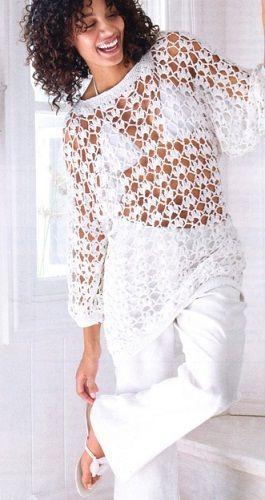 Túnica a crochet. | jersey azul croche | Pinterest | Túnicas, Blusas ...