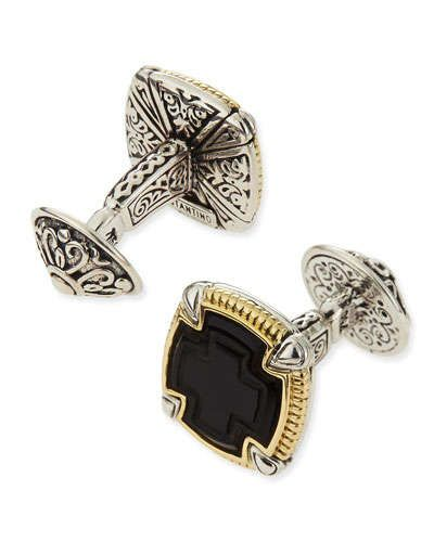 N2U97 Konstantino Ares Square Silver & 18k Gold Cuff Links