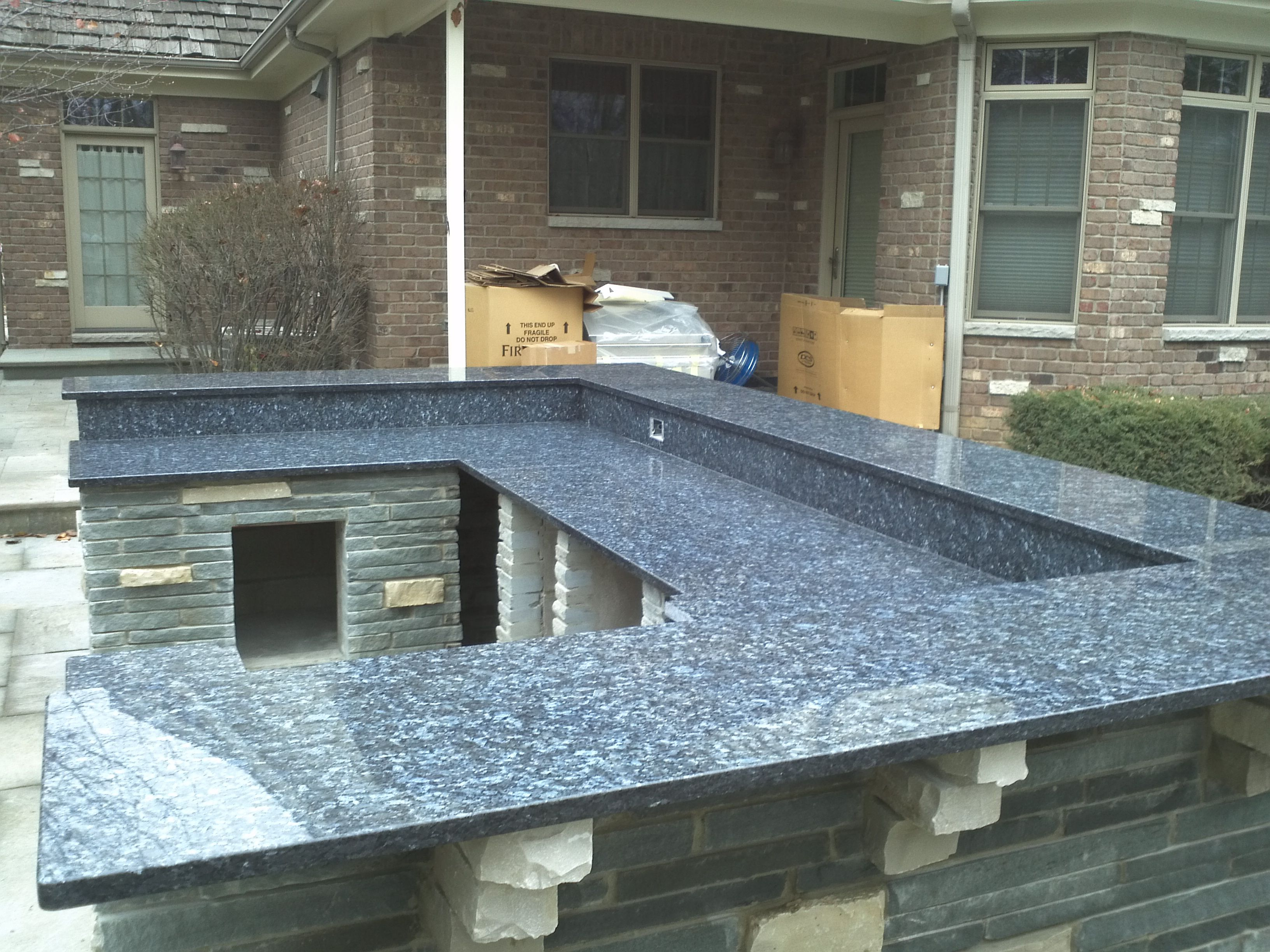 Granite Blue Pearl Gt Outside Kitchen By Art Granite Countertops