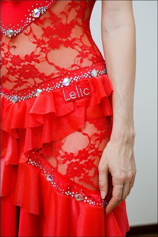 Lelic Dancewear | Red lace with ruffles