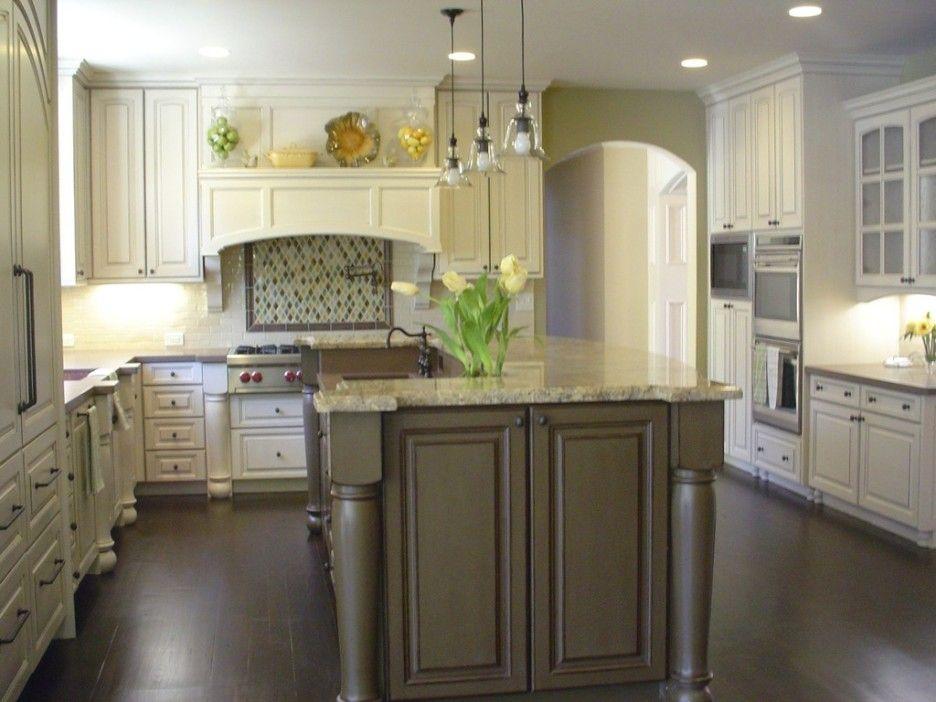 Dark Wood Kitchen Island: Modern Contemporary Kitchen Design With White Kitchen  Cabinet Plus Grey Wood Kitchen Island Complete With Hanging Lamp And Under  ...