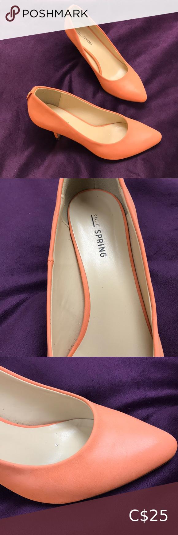 Call It Spring orange low heel shoes