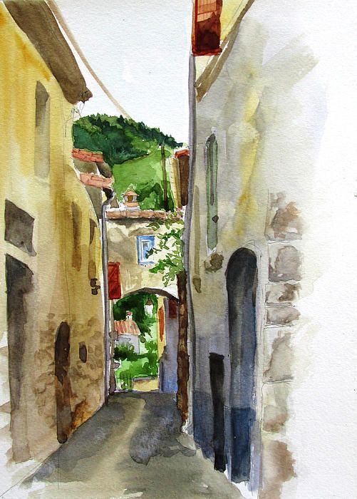 French Mountain Village By Podi Lawrence Village Drawing