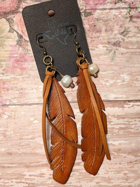 Photo of Leather Feather, Fringe and Freshwater Pearl Earrings, Western, Southwestern, Boho Handmade Leather Jewelry – New Ideas