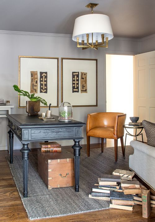 23 Elegant Masculine Home Office Design Ideas: Black Desk, Leather Chair, Trunk, Art, Rug, Books @seanandersondesign.com