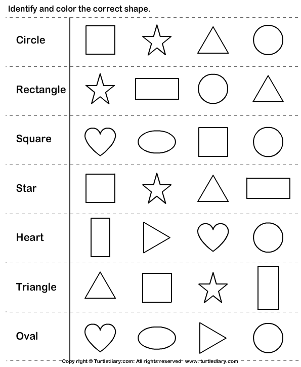 Worksheets Free Shape Worksheets identify shapes psico 2016 pinterest shape kindergarten check out turtle diarys large collection of worksheets for make learning fun and easy with these great learnin