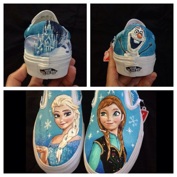 0d47509e4bdee8 Hand Painted Disney s Frozen Slip On Vans by DrawingsByBOBA