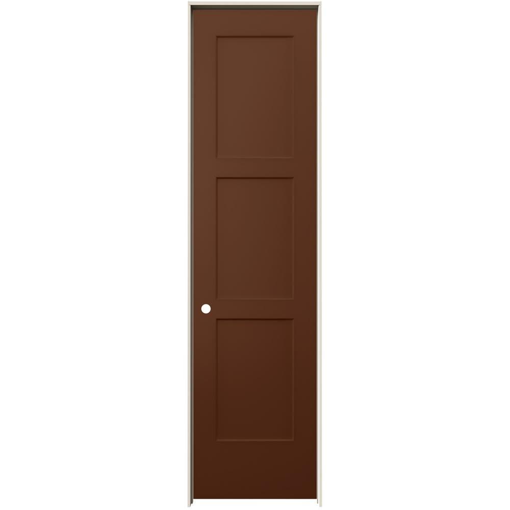 Jeld Wen 24 In X 96 In Birkdale Milk Chocolate Stain Right Hand Smooth Solid Core Molded Composite Single Prehung Interior Door Prehung Interior Doors Prehung Doors Wood Hinges