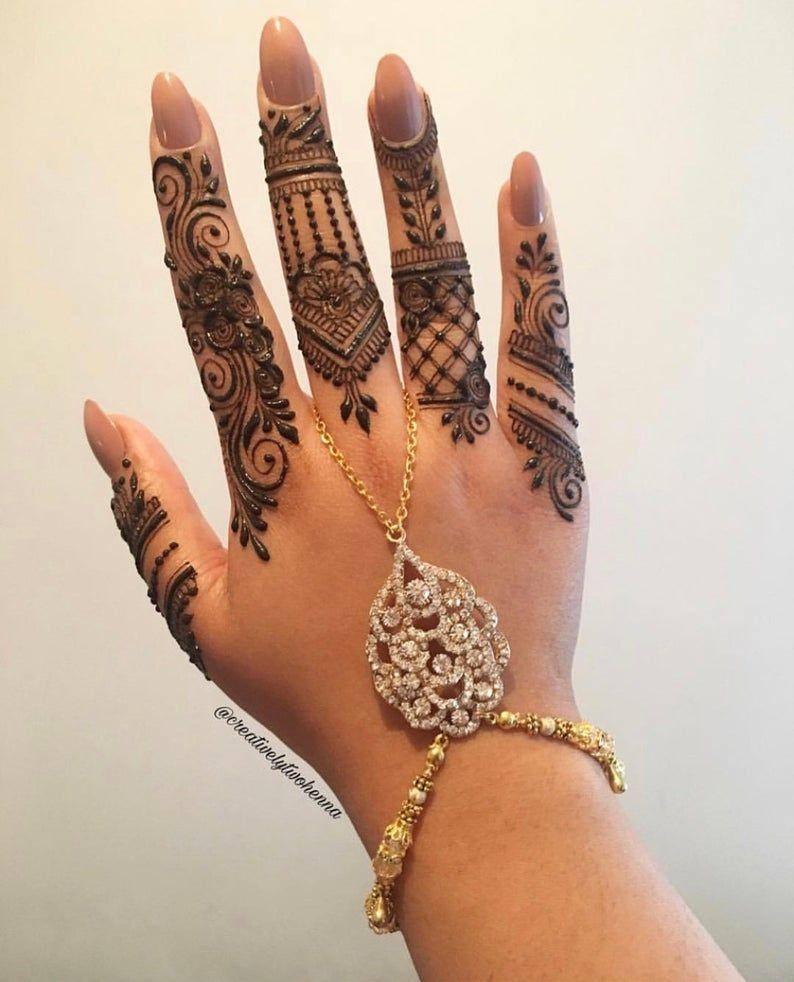 Bridal hand chain  ring hand piece  slave bracelet  wrist | Etsy