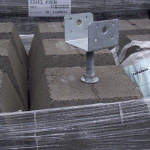 12 Quot Pier Block With 4x4 Hot Dipped Galvanized Adjustable Post Base In 2019 Pier
