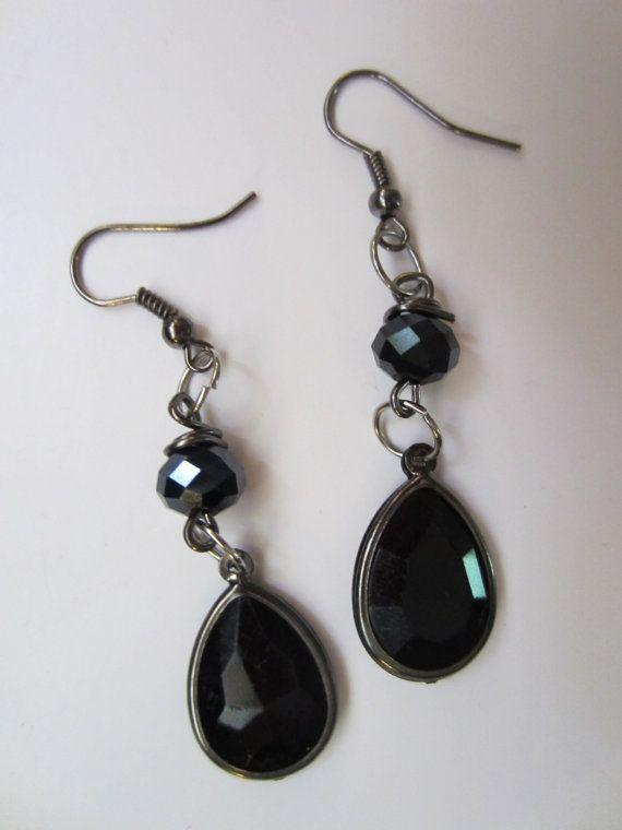 Black Teardrop and Crystal Earrings  Large by InJamiesHands, $6.00
