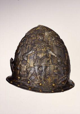 Birnhelm / Garnitur bestehend aus Birnhelm und Schild   Mailand. Um 1570.
