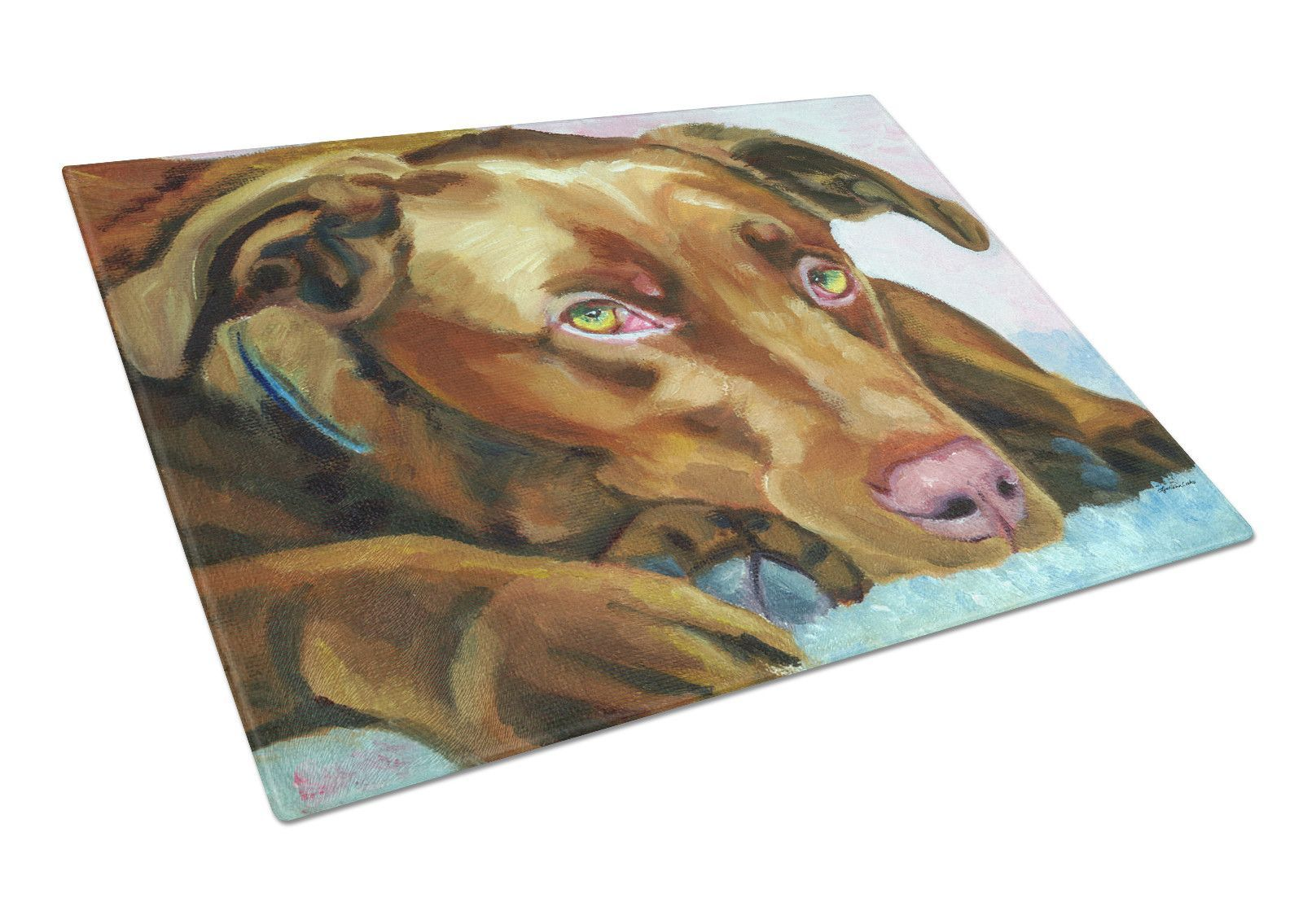 Chocolate Labrador Waiting Glass Cutting Board Large 7420LCB