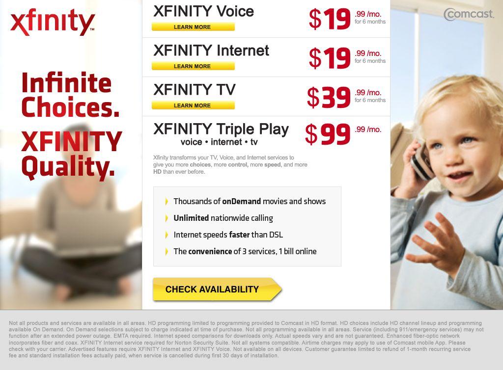 Comcast Xfinity landing page Comcast xfinity