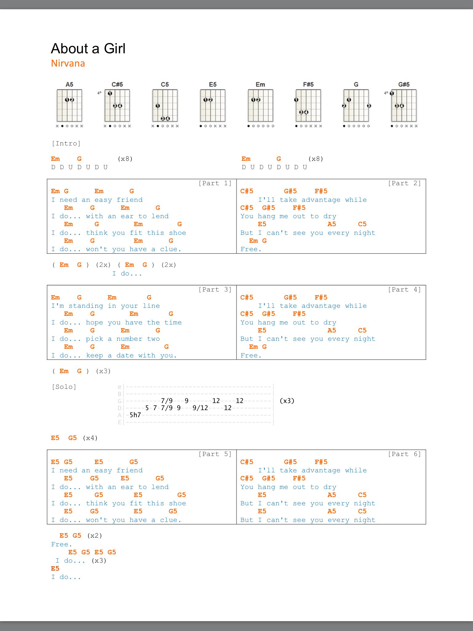 Nirvana about a girl with tablature and chords nirvana nirvana about a girl with tablature and chords hexwebz Images